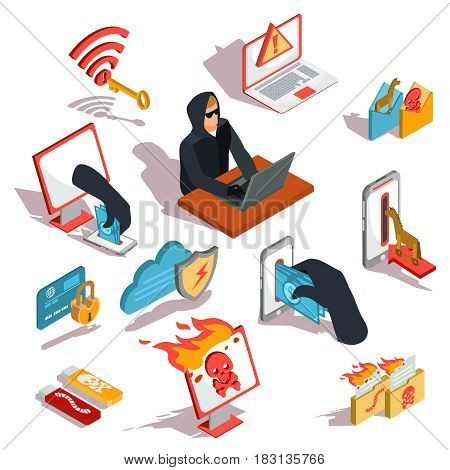 Set of vector isometric illustrations, hacker icons, computer security breach, information confidentiality, bank account hacking