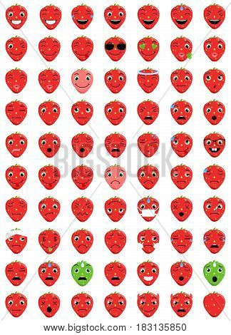 Emotoicons Strawberry -70 Strawberry Emoticons - Easy to change color  - Easy to modify - 100% resizable