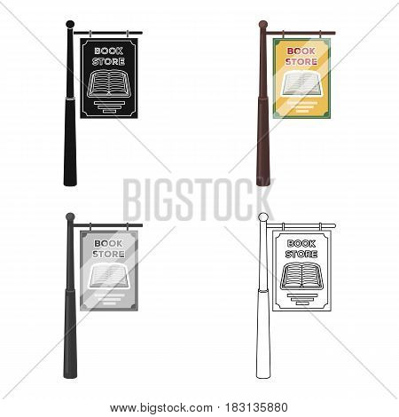 Bookstore signage icon in cartoon design isolated on white background. Library and bookstore symbol stock vector illustration.