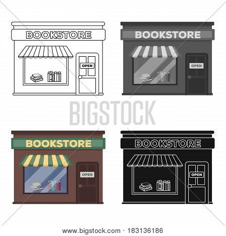 Bookstore icon in cartoon design isolated on white background. Library and bookstore symbol stock vector illustration.