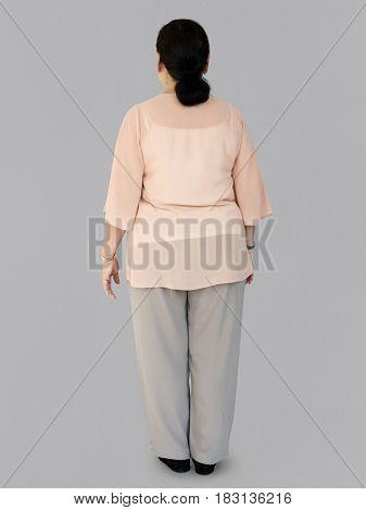 Senior Adult Women Back Side Studio Portrait