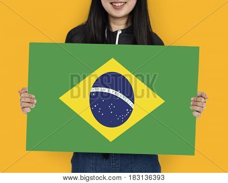 Woman Hands Hold Brazil Flag Patriotism