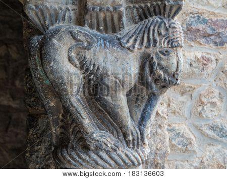 Closeup of Catalan roman art sculpture in the Abbey of Saint-Martin du Canigou France