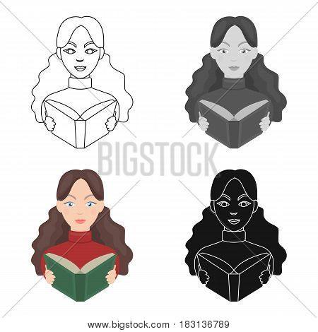 Librarian icon in cartoon design isolated on white background. Library and bookstore symbol stock vector illustration.