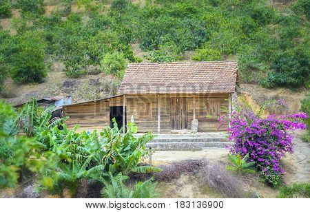 Lam Dong, Vietnam - March 29th, 2017: Little house on a hillside with paper flowers adorn more beautiful prairie in Lam Dong, Vietnam