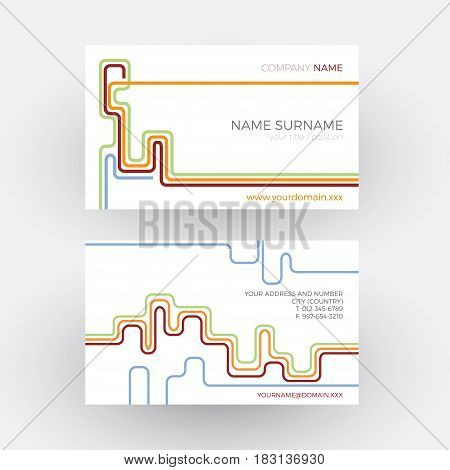 Vector abstract stripes concept of network. Vintage business card