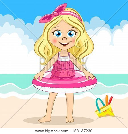 Vector cute girl in pink swimsuit holding swiming ring on the sea background and bucket at the sand for your design