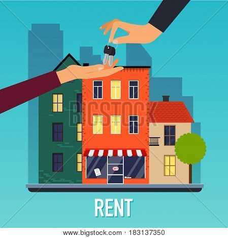 Real estate agent hand giving key to home buyer. Offer of purchase house, rental of Real Estate. Flat design modern vector illustration concept.