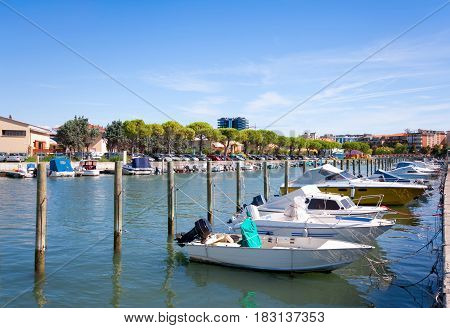 Boats Lying In The Harbor Of Grado, Friuli-venezia Giulia, Italy