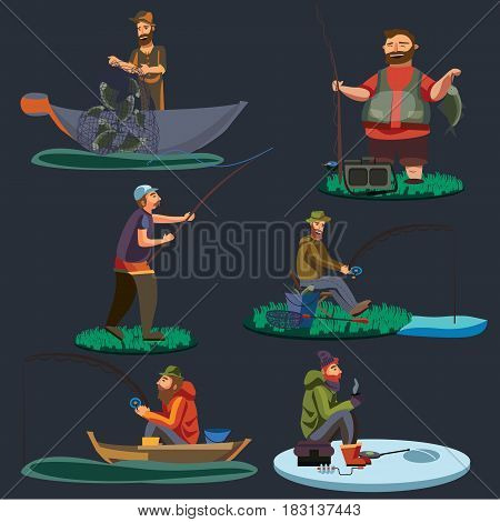 Fisherman catches fish sitting on boat and off shore, fisher threw fishing rod into water, happy fishman holds catch and spin, man pulls net out of the water, fishing on ice icon vector illustration.