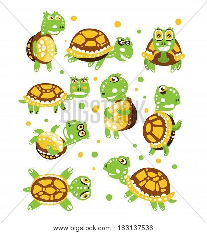 Cartoon funny turtle, set for label design. olorful character vector Illustration isolated on a white background