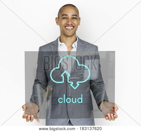 Cloud Computing Upload Download Icon Sign