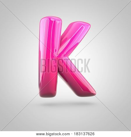Glossy Red And Pink Gradient Paint Alphabet Letter K Uppercase Isolated On White Background