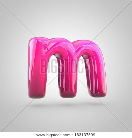 Glossy Red And Pink Gradient Paint Alphabet Letter M Lowercase Isolated On White Background