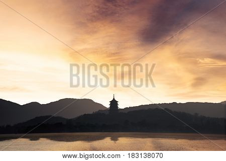 Beautiful landscape of West Lake at sunset time in Hangzhou China