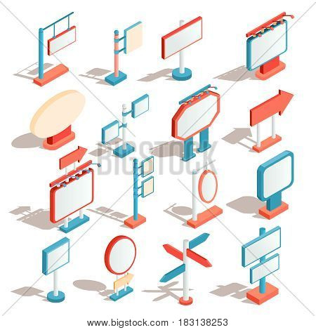 Set of vector isometric illustrations, icons of billboards, advertising banners, road signs, direction signs