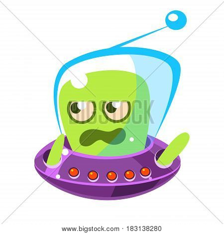 Irritated and annoyed green allien, cute cartoon monster. Colorful vector character isolated on a white background