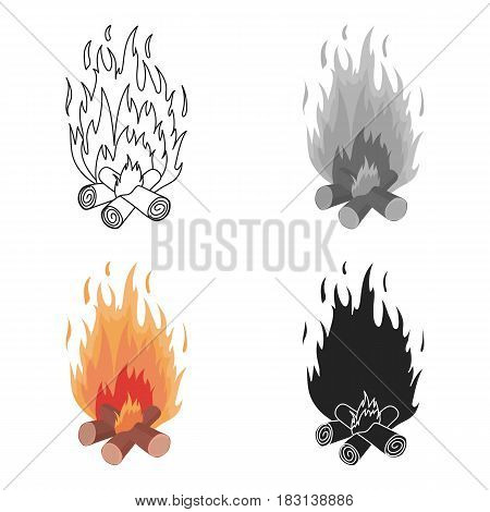 Campfire icon in cartoon style isolated on white background. Light source symbol vector illustration