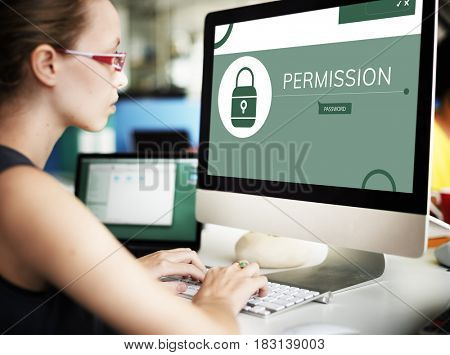 Woman with illustration of computer security system