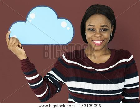 Woman Holding Cloud Computing Papercraft Icon