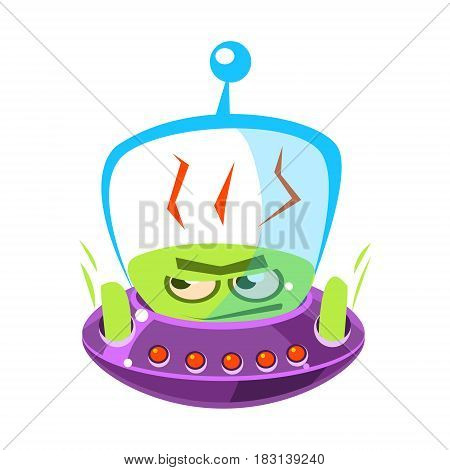 Flattened, flushed green alien, cute cartoon monster. Colorful vector character isolated on a white background