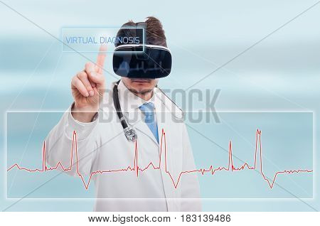 Young Medic Touching Icon Of Virtual Diagnosis