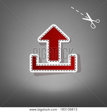 Upload sign illustration. Vector. Red icon with for applique from paper with shadow on gray background with scissors.