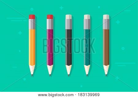 Pencils vector set isolated on color background, flat cartoon color pencil with rubber