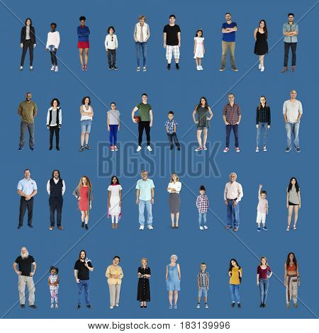 Diversity People Set Gesture Standing Together Studio Isolated