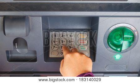 ATM machine keypad numbers Entering atm cash machine pin code