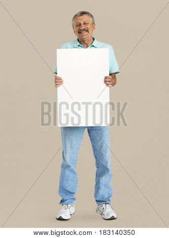 Senior Adult Man Holding Blank Paper Board Studio Portrait