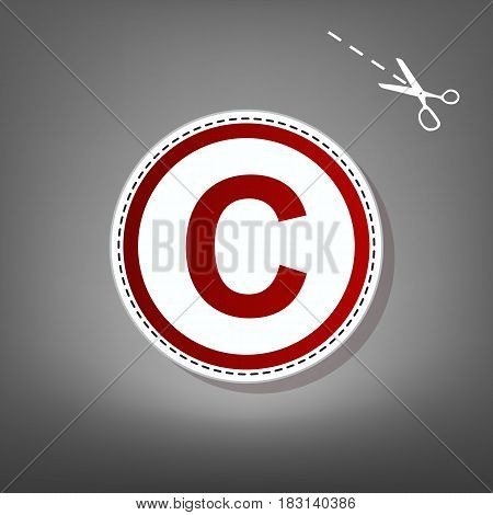 Copyright sign illustration. Vector. Red icon with for applique from paper with shadow on gray background with scissors.