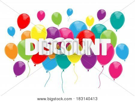 Vector discounts cover with text and balloons
