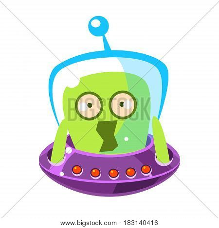 Scared green alien, cute cartoon monster. Colorful vector character isolated on a white background