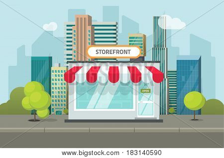 Storefront in city vector illustration, store building on town street landscape, flat cartoon style shop facade front view