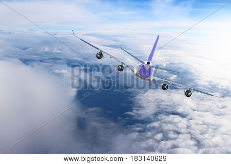 Plane in the sky flight travel transport airplane background