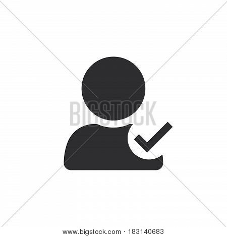 User Profile Symbol With Check Mark. Verified Account Icon Vector, Solid Logo Illustration, Pictogra