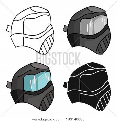 Paintball mask icon in cartoon design isolated on white background. Paintball symbol stock vector illustration.