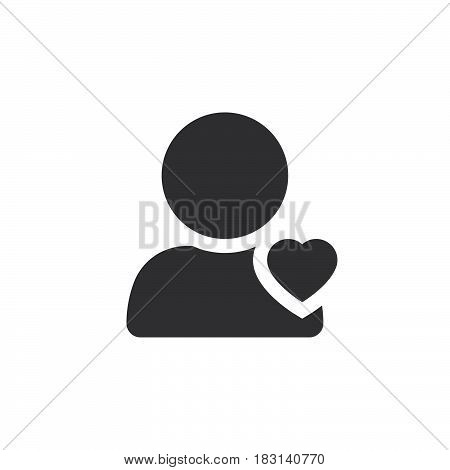 Favorite Account Symbol. User With Heart Icon Vector, Solid Logo Illustration, Pictogram Isolated On