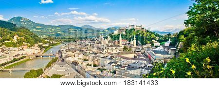 Panoramic View Of The Historic City Of Salzburg, Salzburger Land, Austria