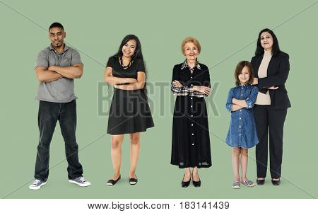 Diversity of People Generations Set Together Studio Isolated