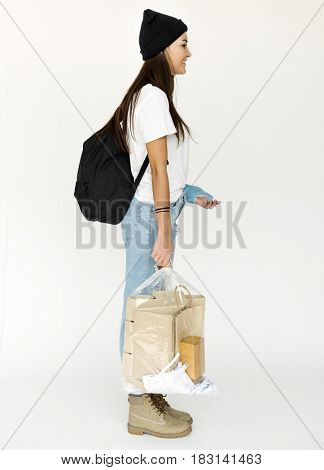Young woman got injury and holding plastic bag