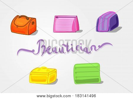 Vector illustration of cosmetic bags, travel bags in different colors: pink, green, Yellow, orange, purple. A set of beauticians.