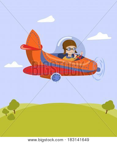 A cartoon illustration of how a boy is traveling on an orange plane. The child flies across the sky between the clouds over a green glade and trees.