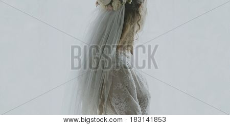 Beautiful bride on wedding dress