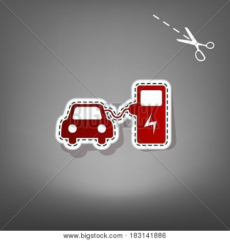 Electric car battery charging sign. Vector. Red icon with for applique from paper with shadow on gray background with scissors.