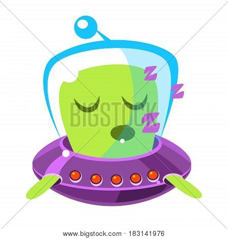 Singing green alien in a flying saucer, cute cartoon monster. Colorful vector character isolated on a white background