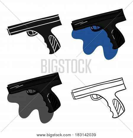 Paintball hand gun icon in cartoon design isolated on white background. Paintball symbol stock vector illustration.