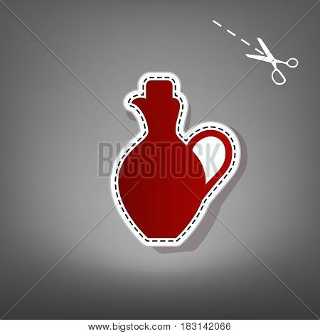 Amphora sign illustration. Vector. Red icon with for applique from paper with shadow on gray background with scissors.