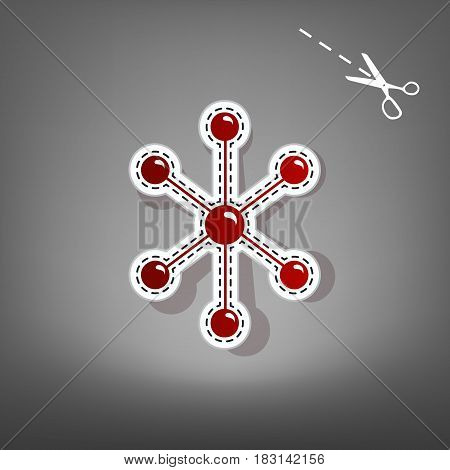 Molecule sign illustration. Vector. Red icon with for applique from paper with shadow on gray background with scissors.